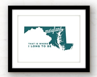 Maryland art | Maryland print | Baltimore, Maryland art | Annapolis art | Baltimore art | state wall art | Silver Spring Maryland art print