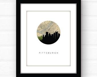 Pittsburgh skyline print | Pittsburgh art | Pittsburgh map | Pittsburgh print | Pennsylvania wall art | city skyline art | map decor