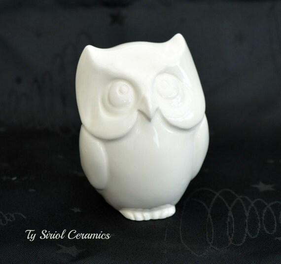 White Ceramic Owl Figurine Handmade In The By