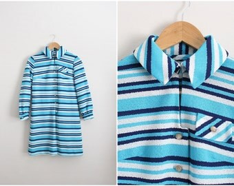 60s Blue Stripes Mod Dress / Mod mini dress/ Shift Dress/ Size S/M