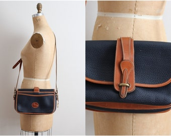 Vintage Black and Brown Dooney & Bourke/ Leather Purse Cross-body Bag/ Shoulder Purse