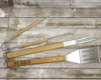 Engraved Wood Grilling Tool Set, bbq gift, for him, dad gift, father's day gift, steel, spatula, personalized  -gfyL10355149