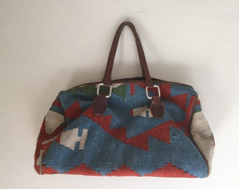 Vintage Kilim Purse Vintage Leather Tapestry Southwestern Bag