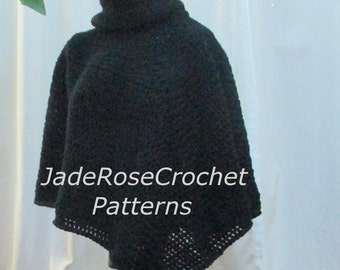 Crochet Poncho Pattern, Cowl Neck Crochet Poncho Pattern, Download PDF 2120