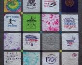 Modern T Shirt Quilt, TShirt Quilt, Quilt made of TShirts, Memory Quilt, Custom Tshirt Quilt, Free Return Shipping