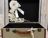 Burlap Suitcase Wedding Card Holder / Wedding Card Trunk / Rustic Wedding Card Holder / Burlap Wedding Decor / Rustic Wedding Decor