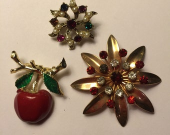 Vintage Red Rhinestone and Enamel Cherry by Gerry Brooch Lot