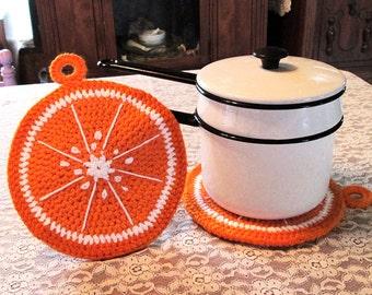 Lg Crochet Orange Slice Potholder/Hotpad