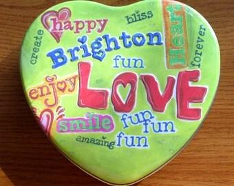 "6"" Brighton Heart Tin Happy Green Graffiti"