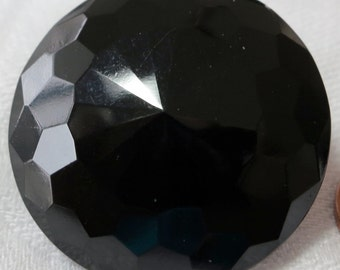 """1 Vintage black glass button, 1.25"""" inches across, facet tune,self shank sew through. Nice condition. Slightly domes. CLAM15.3-4.9-20."""