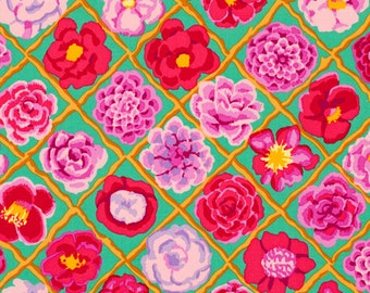 LAMINATED cotton fabric (similar to oilcloth) by the yard - Flower Lattice Camellia pink - BPA free - WIDE - wipeable tablecloth fabric