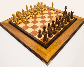 Deluxe Two-Tiered Handcrafted Chess Set W/One Of A Kind Triple Bordered Chess Board Chess Set Mahogany Bubinga Peruvian Walnut Tiger Maple