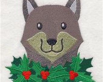 Merry Christmas Wolf Embroidered Flour Sack Hand/Dish Towel