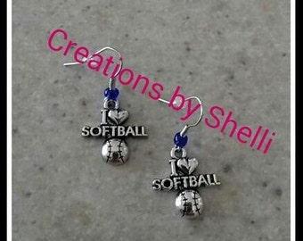 I Love Softball Earrings Charm Jewlery (you choose bead color)