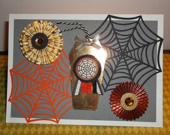 """Spider Webs and Coffin Halloween Hand Made Greeting Card """"Spider Web"""""""