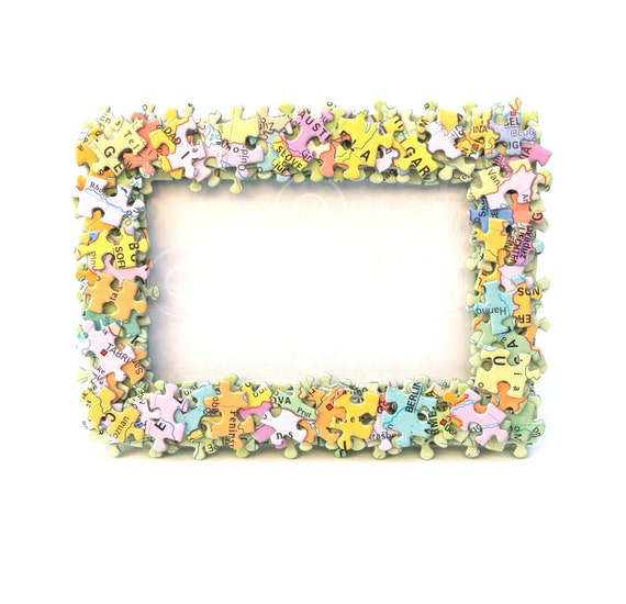 Jigsaw Glasses Frame : Jigsaw Puzzle Pieces Photo Frame Picture Freestanding Wall