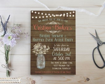Babies Breath Collection DIY Printable OR Printed Bridal Wedding Shower Invitations