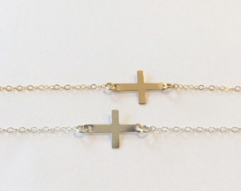 Sideways Cross Necklace, Sterling Silver, Gold Filled, Faith, Chain, Weddings, Friendship, Gift, Jewelry, Jewellery