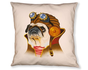 Pug Steampunk Pillow Cover - Black Brown Beige - Steampunk Dog - Square Pillow