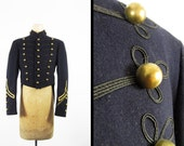 Vintage 1940s West Point Uniform Jacket Military Wool Long Tails and Brass Ball Buttons - 36