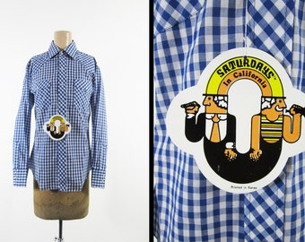 NOS Vintage Western Shirt Blue Gingham Plaid Saturdays Snap Shirt - Men's Medium