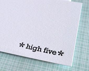 high five mini notecard :  letterpress