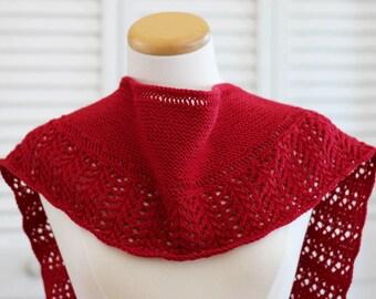 Knitting Pattern Scarf, Red Wool