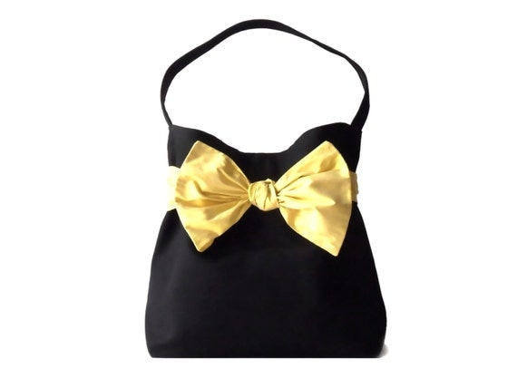 TRENCH, Black cotton gabardine  gold yellow Silk Bow Chic bucket bag, EVENING BAG for weddings,cocktails...