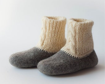 Handmade wool felted slippers - house shoes - natural - eco friendly