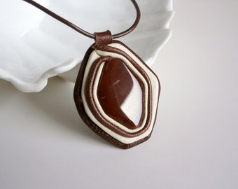 Agate Pendant, Leather Pendant, Agate Stone Necklace, BLack Ivory Pendant, Healing Jewelry, Gemstone Leather Jewelry