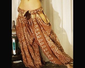LILLYLOONS:. Brown pantaloons with cutouts for tribal or tribal fusion bellydance.