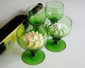 Vintage Swedish Glass, Champagne Glasses, Gulli Ingrid Swedish, Coupe, Sweet Wine Glasses, Scandinavian, Lobed Stem, Emerald Green