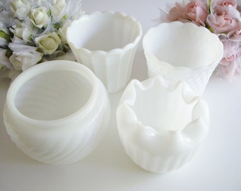 Vintage, Milk Glass, Planter Collection, Vintage Wedding, 4 Assorted, Milk Glass Pots, White Planter, Hobnail, Paneled, Pinched, Swirls