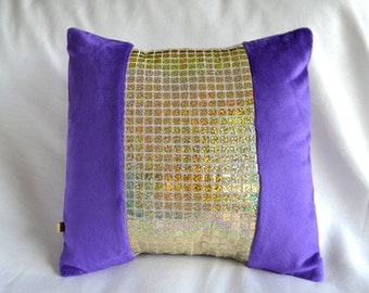 Purple Plush and Gold Sequin Pillow Cover