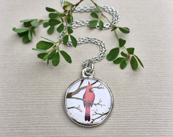 BIRD NECKLACE | Red Cardinal Jewelry | Birder, Mom, Grandmother Gift