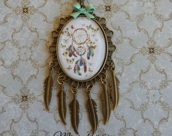 necklace dreamcatcher gypsy bohemia feather butterfly