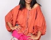 Orange Blouse / Loose Fit Summer Shirt / Summer Top / Orange Tie Dye Blouse / Beach Wear