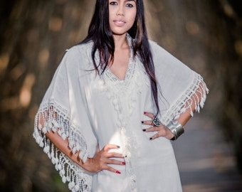 White Kaftan / Bohemian Kaftan / Cotton and white lace kaftan : Bohemian Kaftan Collection No.4
