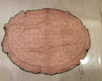 Vintage Pink and Black  Embroidered  Rayon and Lace Edged Boudoir Pillow Cover