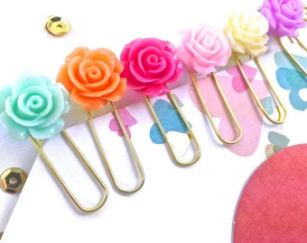 Resin Flower Planner Paper Clips Mix | Pack of 6 Pastel Roses Flower Cabochons | Variety Bookmarks Novelty Paper Clips Filofax KikkiK Midori