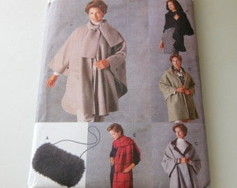 Cape Pattern Vogue 9891 Easy UNCUT Factory Folds One Size Hooded Cape Fringe Cape Poncho Reversible Cape