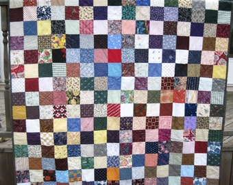 Custom Handmade Patchwork Quilt. Full size Quilt. Double Bed Quilt. Wedding Gift Anniversary Gift.  Farmhouse Americana Quilted blanket