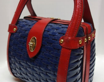 Vintage 50s60s Wicker and Leather Blue/Red Purse Made in HongKong