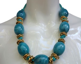 Chunky Marbled Turquoise Necklace by YVES SAINT LAURENT