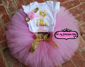 Pink and Gold First Birthday outfit gold glitter PERSONALIZED onesie, pink and gold tutu, first birthday, pink and gold set, birthday tutu