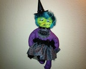 Handmade Wicked Witch Folk Art Soft Sculptured Primitive Hand Painted