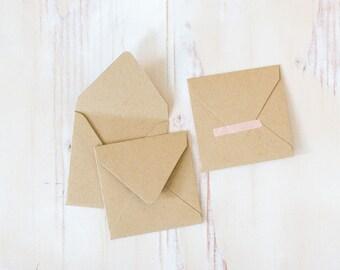 Brown Kraft Mini Square Envelopes - 10 pc