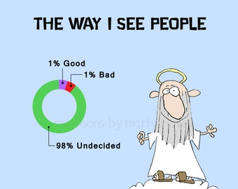 Saint Peter and a Pie Chart Of Good and Bad People at the Pearly Gates Print or Mug