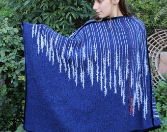Handwoven Poncho in Indigo Blue with White Accents