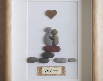 Pebble Art framed Picture - In Love